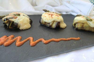 berenjenas rellenas con trigueros y champiñones portobello gratinadas con queso curado