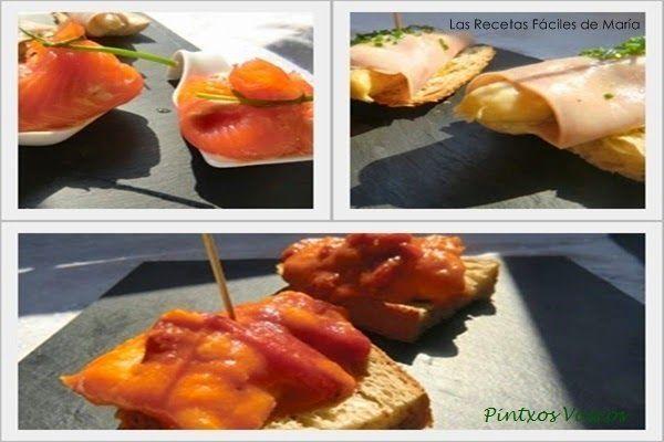 Pintxos Vascos Bacalao con tomate y pimientos Saquitos de Salmón y Rollitos de jamón y Esparragos
