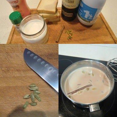 torrijas de leche y vino con canela y cardamomo paso 1