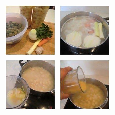 receta rápida de Fabes con Almejas paso 1
