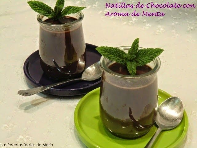 Natillas de Chocolate con Hierbabuena