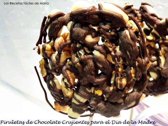 Piruletas de Chocolate Crujientes para el Día de la Madre
