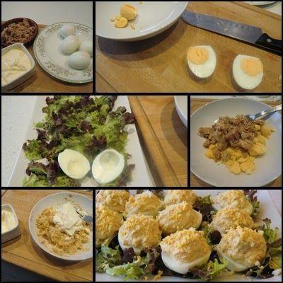 Cómo se hace Huevos rellenos de Atún con Mayonesa Casera