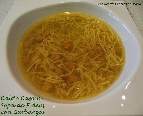 caldo casero con truqui-sopa de fideos con garbanzos