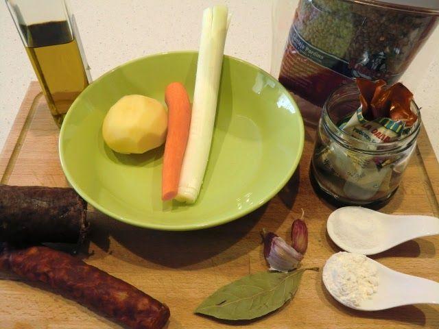 ingredientes lentejas con morcilla de Burgos