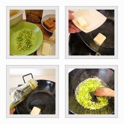 risotto de rovellons con puerro paso 1