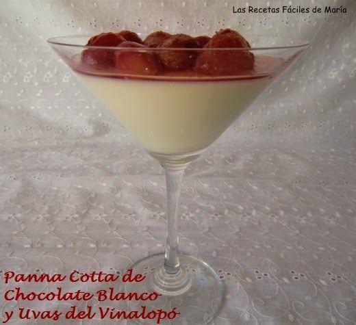 Panna Cotta de chocolate blanco y uvas del vinalopó presentación