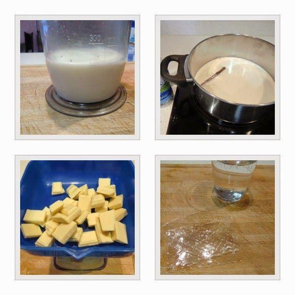 Panna Cotta de chocolate blanco y uvas del vinalopó paso 1