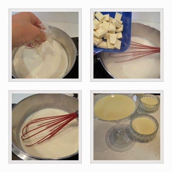 Panna Cotta de chocolate blanco y uvas del vinalopó paso 2
