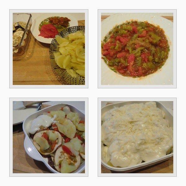 Musaka Vegetariana Griega montaje del plato Las Recetas Fáciles de María
