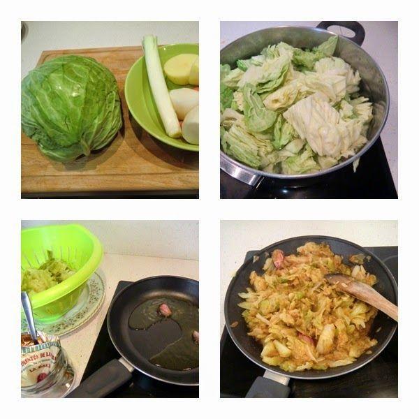 repollo o col del cocido madrileño, rehogando col con pimentón para el cocido madrileño