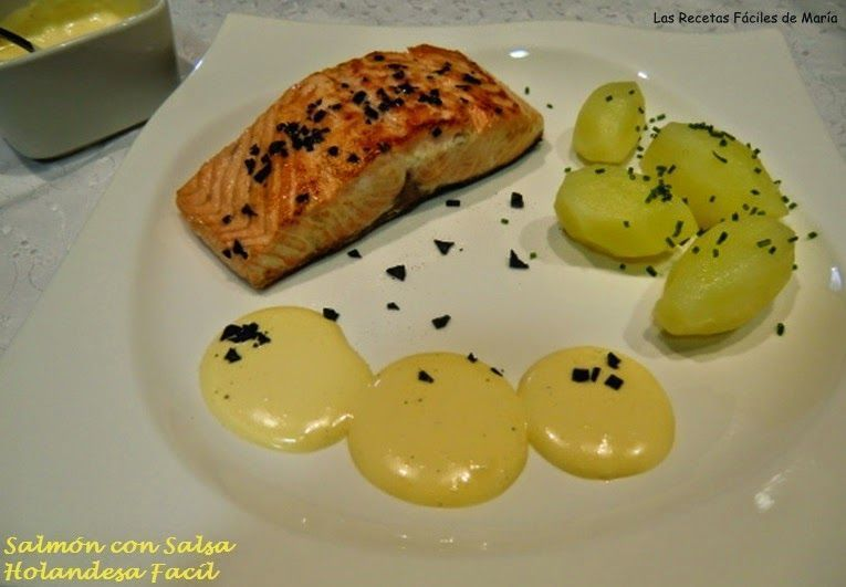 Salmón con Salsa Holandesa Fácil y sal negra plato gourmet