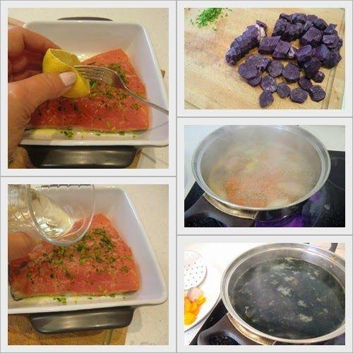 Salmón al Horno con Patatas Violetas como se hace