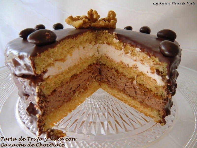 Tarta de Trufa y Nata con Ganache de Chocolate para San Valentín Corte