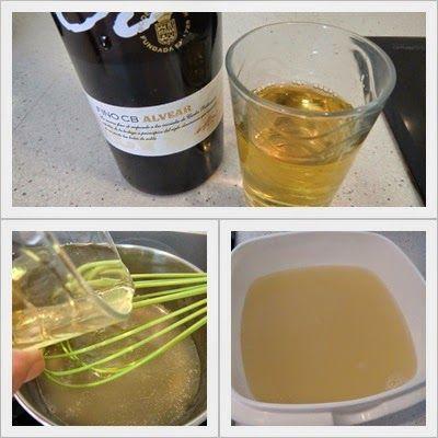 vino blanco para Gelatina de vino blanco en pastel frío de salmón