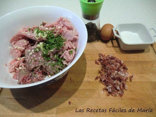 Ingredientes Patatas rellenas de carne y jamón