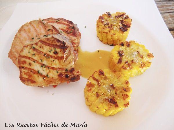 receta Atún marinado con pimiento africano y maíz